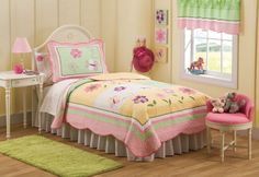 Butterfly Kisses Bedding  Pink and Green Butterfly Bedding  The Butterfly Kisses quilt set has an excellent  combination of bright pinks, soft greens and  butter yellows with beautiful spring butterflies and flowers. Create a sweet bedroom with this little girl butterfly bedding.