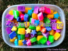 Painting with Colored Ice Cubes from The Children's Art Group. Use any kind of washable paint (or Koolaid!) to make the ice cubes. Tape down a large white sheet/fabric and let the kids go for it! Great for Summer.