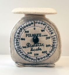 Felt Kitchen Scales (home decor, soft sculpture, toy, pillow, sewing, embroidery, white, fabric)