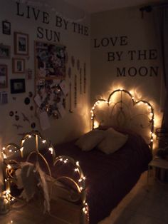 boho bedroom at night