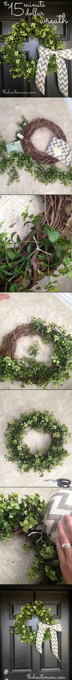 Easy and Beautiful $1 Wreath.