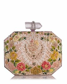 Marchesa Iris Floral Embroidered Box Clutch