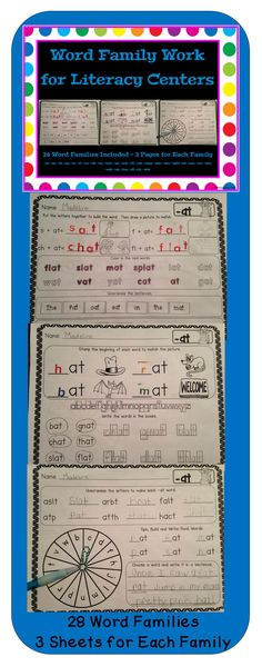 28 Different Word Families - 3 Sheets for each family  This product repeats the same 8 activities for 28 word families. Once you have introduced what is expected, the students can complete these independently at a literacy center each week.