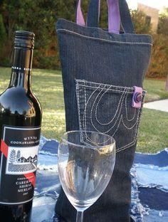 Blue Jean Wine Carrier