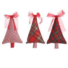 "RAZ 7"" Fabric ChristmasTree Ornament Set of 3"