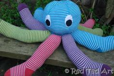 Kids grow out of their clothes all the time. You can upcycle their old tights into this adorable octopus!