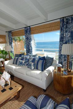 Blue and white coastal living room