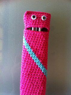 """Cute!  """"Free Crochet Hook Monster Hook Case Pattern."""""""