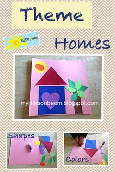 My Little Sonbeam: September Week 2 - homeschool preschool. Learning activities for a 2 year old; can be adapted for 3 and 4 year olds. Theme Activity for homes. Homes for people and animals. The Shape House review shapes and colors. Mylittlesonbeam.blogspot.com