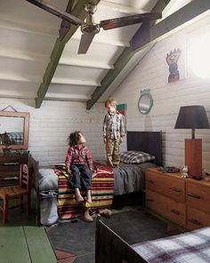Olivier and Antoine's room is furnished with an iron camp bed covered with a Saltillo rug from the '40s. NYTimes article on the founders of Casamidy.