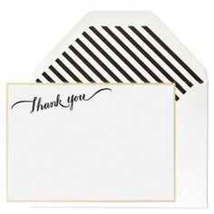 Thank You Black & Gold Striped notes 5x7 set of 6 $24