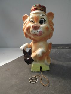 Vintage Figural Porcelain Lion Tape Measure, Scissor Holder, Pin Cushion