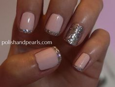 wedding nails, french manicures, pink nails, pale pink, glitter nails, nail tutorials, french tips, finger nails, new years eve