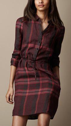 Check Linen Tunic Dress   Burberry
