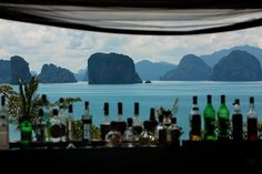A bar with a view. Stunning view of Phang Nga Bay's limestone rocks from The Den at Six Senses Yao Noi, Thailand.