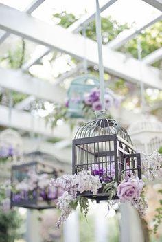 Pretty birdcages | lilac / lavender wedding decoration