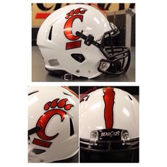 Chrome decals for the Cincinnati Bearcats football team for this weekend's game vs. Miami.   #ChromeFootballHelmetDecals #ChromeFootballDecals #ChromeFootballDecals #ChromeDecals #ChromeHelmetDecals #FootballHelmetDecals #FootballDecals #HelmetDecals #UniSwag #HelmetSwag #HealyAwards