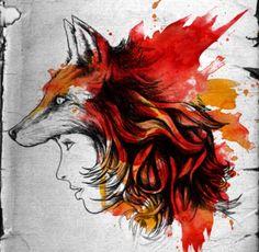 Fox head - minus the human head part - be pretty cool colors for a Tattoo mama? Foxi Ladi, Shirt Design, Art, Inspir, Ladi Fox, T Shirts, Tattoo, Foxes, Illustr