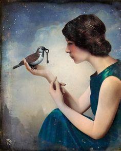 The Key to Wonderland by Christian Schloe bird, christians, dream, keys, wonderland, art, inspir, christian schloe, illustr