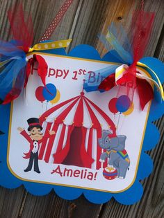 Customized Circus Themed Door Sign in Red by BurleyGirlDesigns, $12.00
