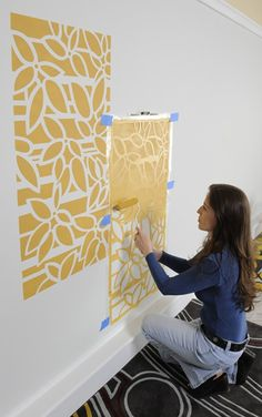 One wall in the playroom in a different pattern? How to Use an All-Over Wall Stencil