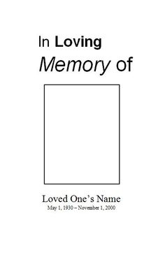 Free Funeral Service Memorial  Program Template for Microsoft Word. Free printable obituary program template for download. Free Memorial Order of Service Template at FuneralPamphlets.com or choose from one of our many beautiful designs