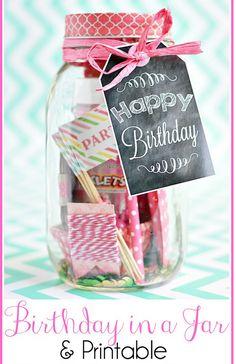 DIY Birthday in a Jar with Printable Chalkboard Tag
