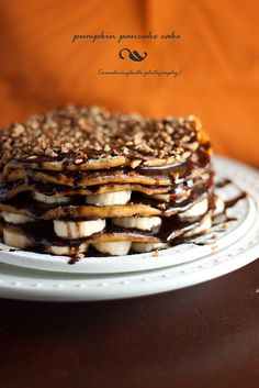 For an indulgent breakfast... my take would be to use TJ's pumpkin pancake mix, top w/ choc syrup, nuts & bananas. Or you can see the orig recipe: Gluten-Free Pumpkin Pancake Cake