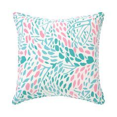 Lilac Pillow in Pink and Teal - Floral Pillows - Decorative ...