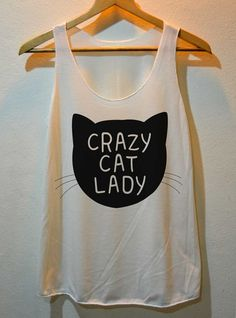 Crazy Cat Lady Printed Pop Rock Shirt Tank Top Vest Ladies Small Large