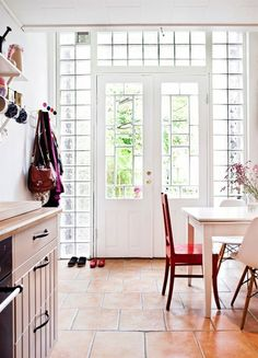 these beautiful french doors surrounded by glass really opens up the whole room