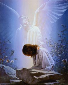 ...obedient.  Angel is comforting Jesus before he dies for us.