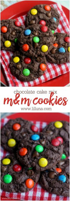 "Chocolate Chip M&M Cake Cookies recipe on { <a href=""http://lilluna.com"" rel=""nofollow"" target=""_blank"">lilluna.com</a> } So soft and yummy!! Ingredients include chocolate box cake mix, hershey syrup, chocolate chips, & m&m's!"