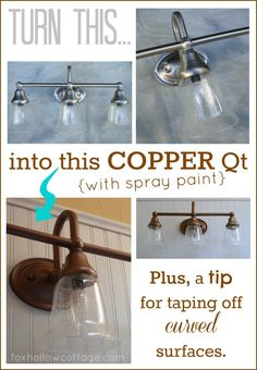 DIY:  Light Fixture Makeover - Great tutorial shows you how to spruce up your light fixture with spray paint.  This is an awesome way to update your space for very little $$$! camprubí camprubí, spray painting tips, makeov tutori, rustic country decor, light fixtures, fixtur makeov, diy light fixture, first house, marc camprubí