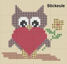 bead patterns, crossstitch, stickeul freebi, owl heart, perler beads
