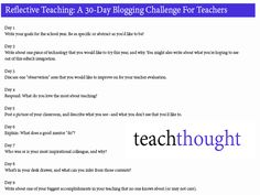 Reflective Teaching: A 30-Day Blogging Challenge For Teachers. September is Reflective Teacher month at TeachThought, and here's a blogging challenge for you!