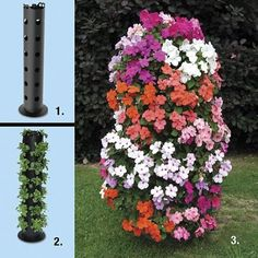 Take a big piece of PVC pipe, use a Wood Burner to put the holes in it, fill with dirt, plant 8 inches in the ground or put a garden stake down the middle before filling with dirt. add your seeds and away you go...or just buy one here...lol    Amazon.com: Tower of Flowers: Patio, Lawn & Garden