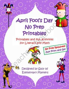 April Fools Day No Prep Printables: Not Just for the Sub Tub from Elementary Matters on TeachersNotebook.com -  (18 pages)  - No prep! Just download and print! Looking for some fun stuff to leave for the kids on a day you'll be out? Looking for something that won't interfere with the unit you're working on? Looking for something that's low prep but valuable a