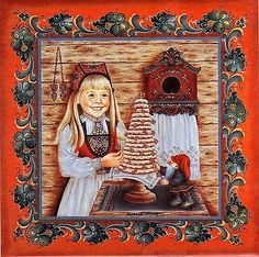 "Norwegian Rosemaling Tile ""Kransekake Girl"" by Suzanne Toftey with recipie"