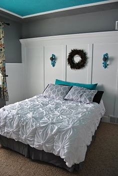 Tutorial on how to make this bedspread out of sheets! I LOVE IT! Yeah, I wish I could.. grey walls, headboard, color schemes, room colors, diy ruffle bedspread, gray walls, accent colors, painted ceilings, bedroom