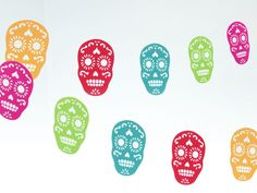 Sugar Skull Die Cut Paper Garland / Bunting, Mexican Party Decor, Day of the Dead, Halloween Decoration - Recycled Paper - Eco Friendly by SocialGoodsCo on Etsy, $14.00