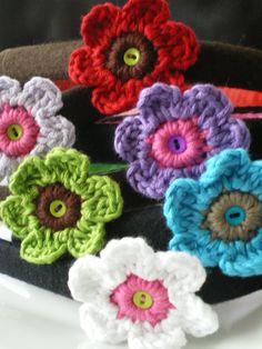 cintillos con flores en crochet
