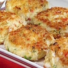 Coconut Crusted Crab Cakes:  6 oz crab meat, 1 beaten egg, 1/4 c crushed potato chips, 2 tbs shredded coconut, 2 tbs chopped scallions, 2 tbs mayo, parsley...onced formed into patties, coat with addl. crushed potato chips