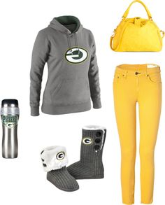 outfit sets, fashion, green bay, packers clothes, packer outfit, closet, boots, mugs, footbal