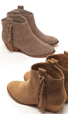 Suede booties with side fringe details fring detail, ankle boots, sued booti, side fring, shoe