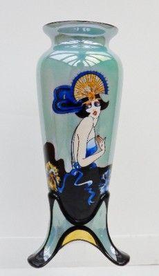 Vintage Noritake Art Deco 3 Footed Lusterware Vase with Large Deco Lady Figure | eBay