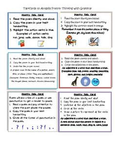 This Free resource can be used with any poem to get them to think about grammar and poetry in a new way. ...