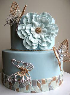Mosaic Butterflies Cake
