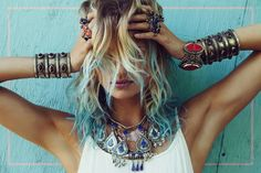 Blonde and turquoise