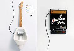 Guitar pee musical urinal de guitar, guitar pee, guitar en
